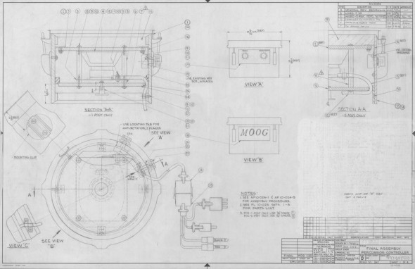 Final Assembly Percussion Controller: This mechanical drawing is from the 1973 Moog 1130 Percussion Controller, showing the assembly of the final unit and giving hints to its operation. The 1130 converts the physical impact of the drum head being hit into a voltage output that can be used to control any voltage-controlled aspect of a Moog modular, or any device that responds to changes in voltage. The prototype of this device can be found in the Bob Moog Foundation Archives.