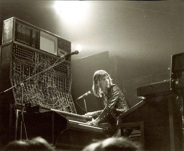 Keith Emerson in concert, Tuscaloosa, Alabama, 1974. Photo credit: Mark Hockman; Bob Moog Foundation Archives