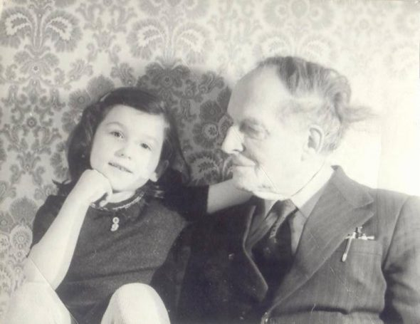 Masha Theremin, and her grandfather, Lev.