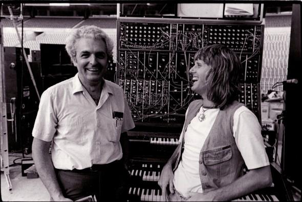 Bob Moog and Keith Emerson, Rich Stadium, Buffalo, 1973. Photo credit: Mark Hockman