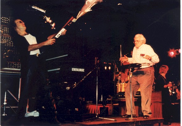 Keith and Bob, performing together at NAMM , Keith on the ribbon controller, Bob with the theremin