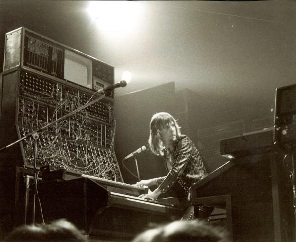 Keith Emerson in concert, Tuscaloosa, Alabama, 1974. Photo credit: Mark Hockman; Bob Moog Foundation Archives